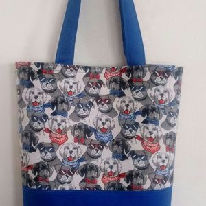 Dogs W/ Glasses And Ties Blue Tote